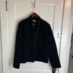 Black Wool Zippered Blazer